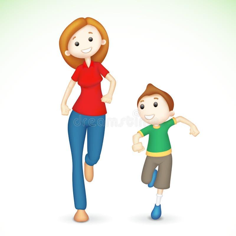 сынок мати 3d идущий иллюстрация вектора