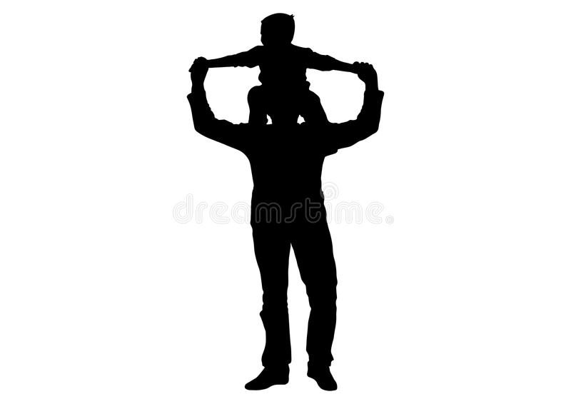 Сын ребенка сидя на плечах силуэта отца человека иллюстрация штока