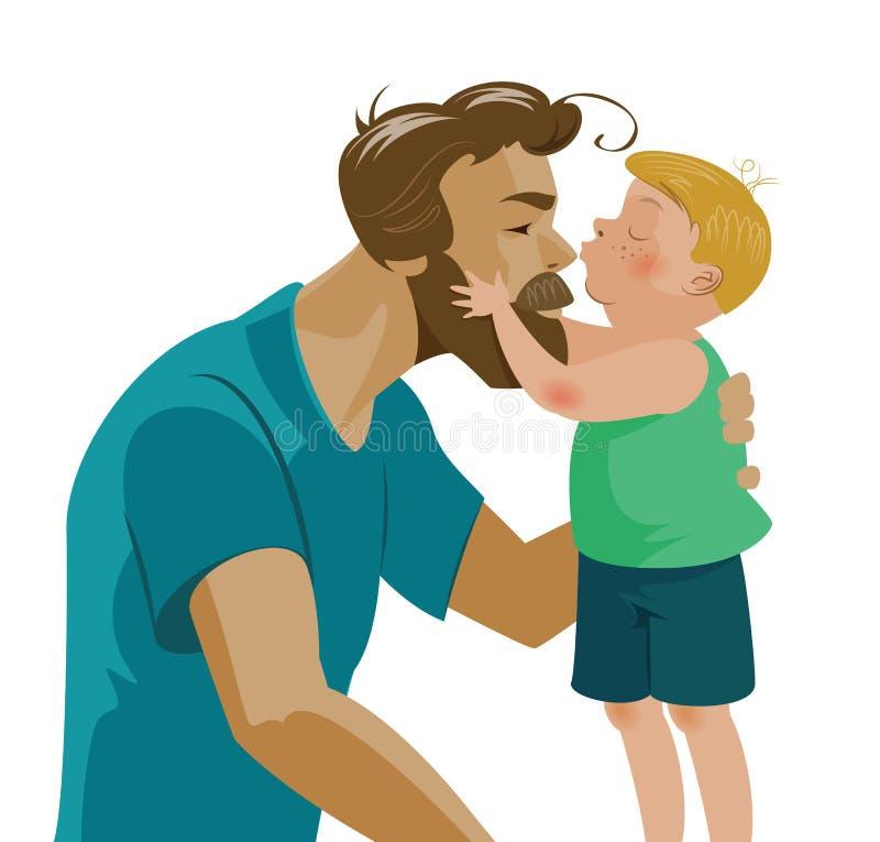 Сын целуя его папы и поцелуев на носе Влюбленность и нежность иллюстрация вектора