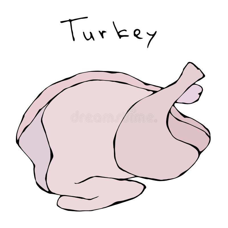 Сырцовая туша Турции полная Реалистической Doodle вектора изолированные иллюстрацией или эскиз стиля шаржа нарисованные рукой Све иллюстрация вектора