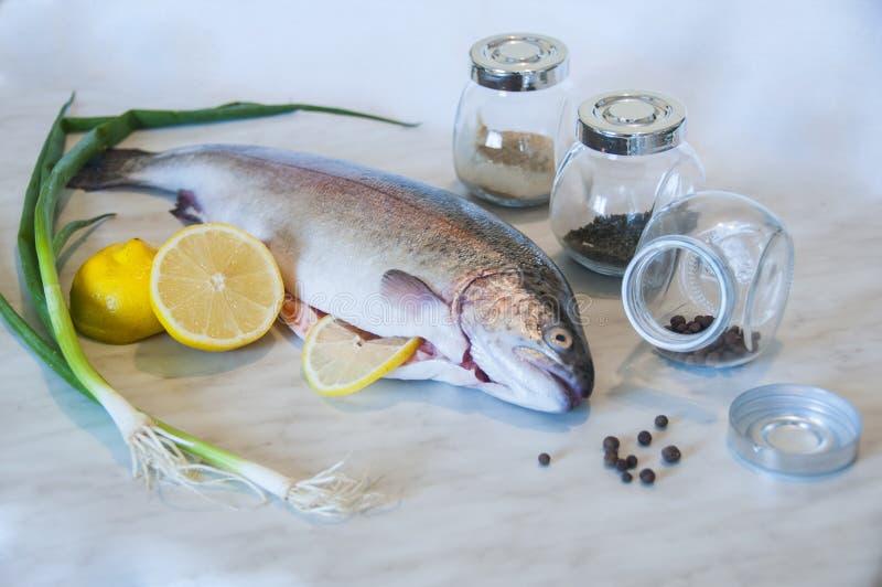 Сырцовая форель с зеленым луком, кусками лимона, 3 опарниками со специями на мраморной предпосылке Свежее рыбное блюдо стоковая фотография