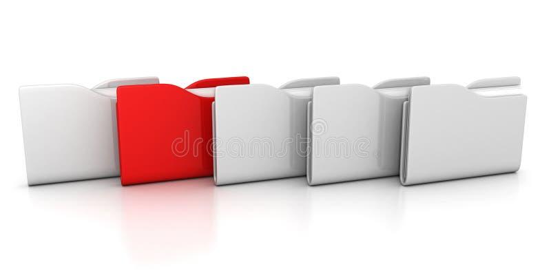 Сырцово белых скоросшивателей офиса с одним красным цветом бесплатная иллюстрация