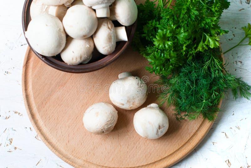 Сырцовые грибы с петрушкой и укропом стоковое изображение rf