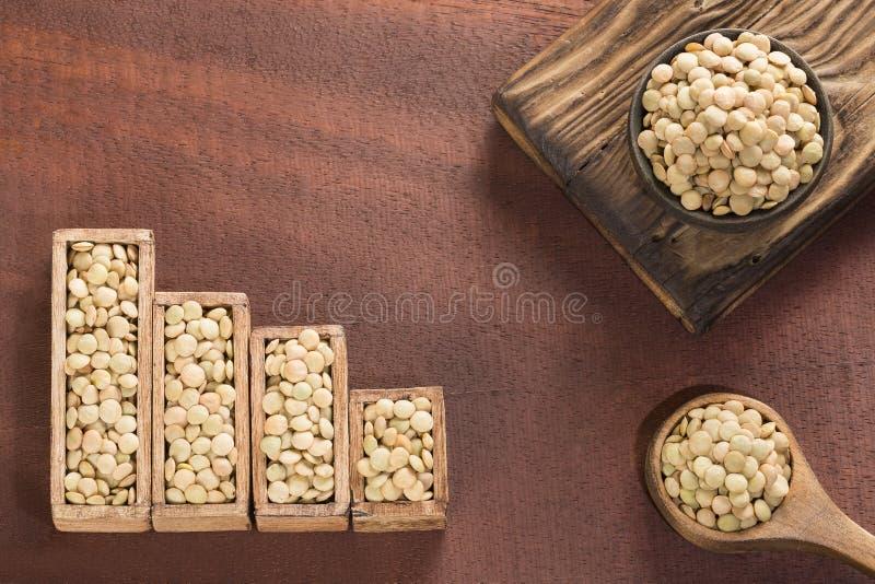 Сырцовые чечевицы - статистическая таблица продажи и потребление чечевиц стоковое фото