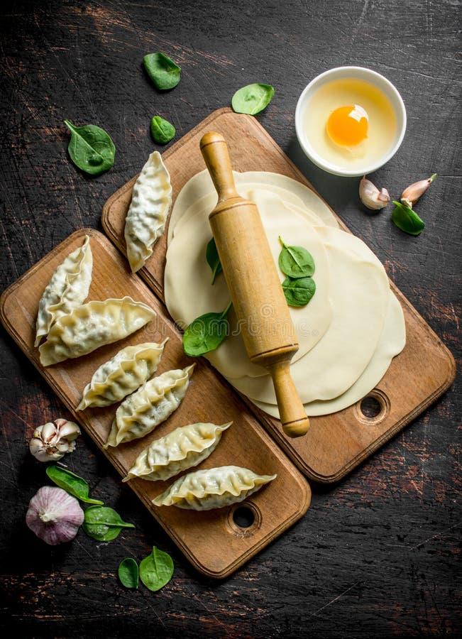 Сырцовый вареник gedza Домодельное gedza вареников с мясом стоковые фото
