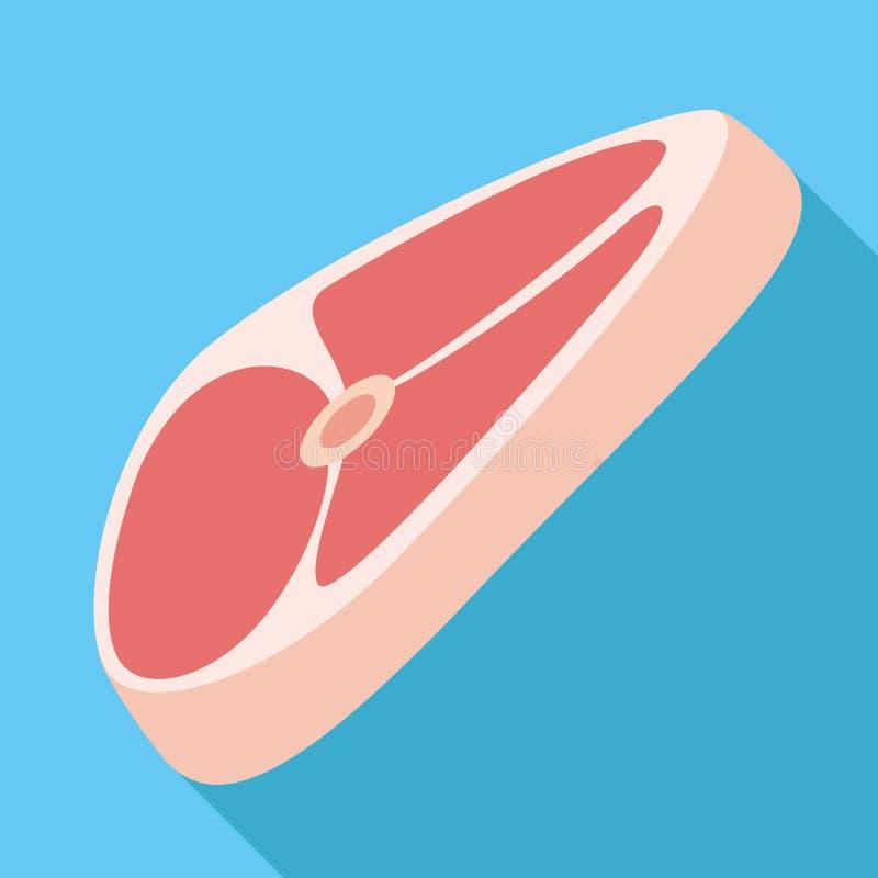 Сырцовый значок стейка, плоский стиль иллюстрация вектора