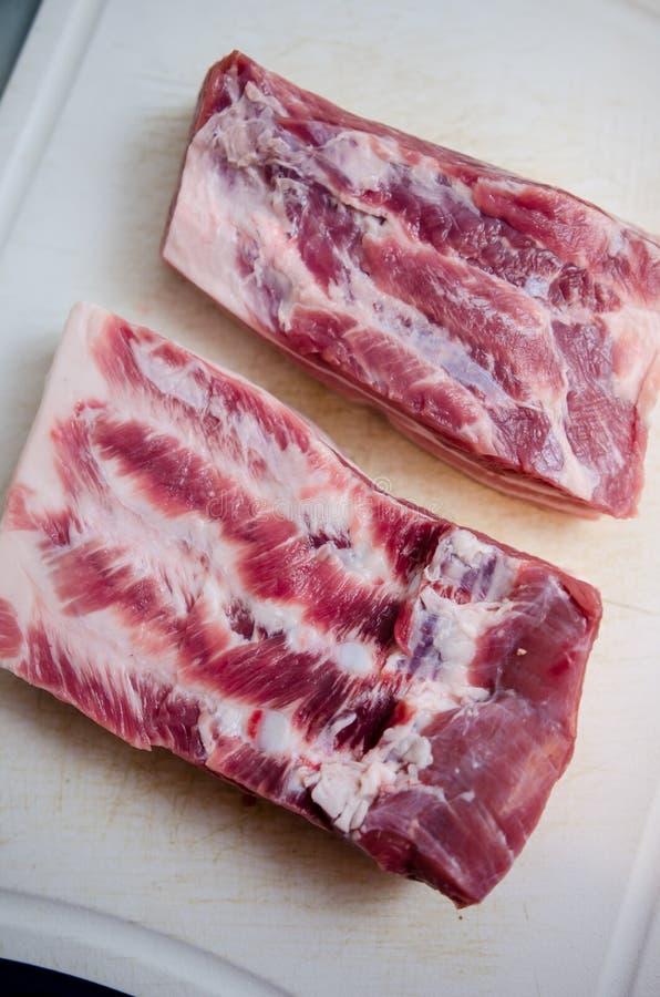 Сырцовый крупный план живота свинины стоковые изображения rf
