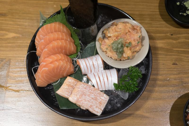 Сырцовый свежий salmon комплект сасими мяса стоковое фото