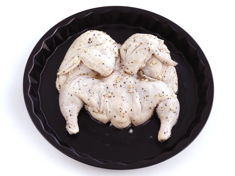 Сырцовый цыпленок при чеснок marinated в уксусе и оливковом масле стоковое фото rf