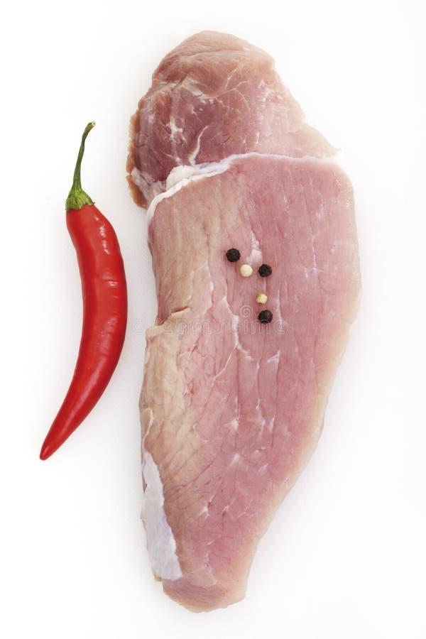 Сырцовый escalope, свинина стоковые изображения rf