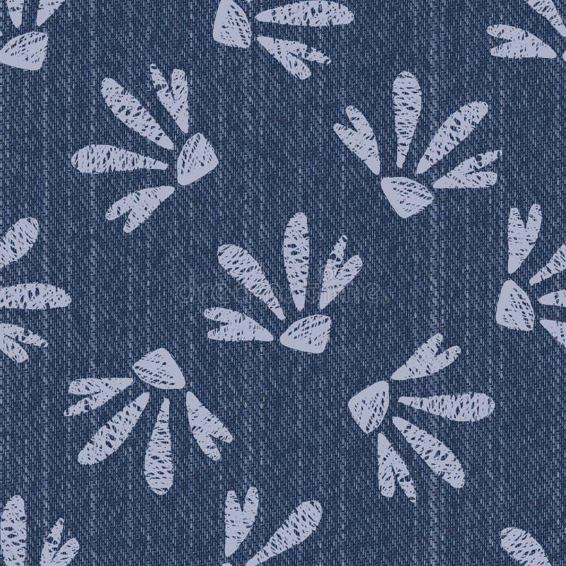 Сырый фон текстуры Denim Blue Chambray с печатной белой Дейзи Индиго Стоневаш Безмореходная схема Закрыть текстиль стоковое фото rf