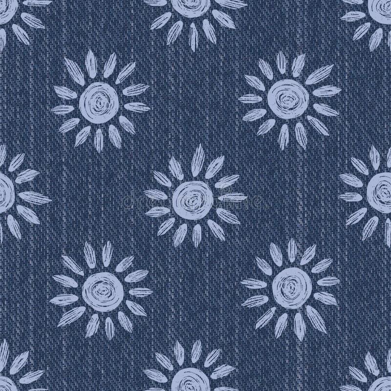 Сырый фон текстуры Denim Blue Chambray с печатной белой Дейзи Индиго Стоневаш Безмореходная схема Закрыть текстиль стоковые изображения