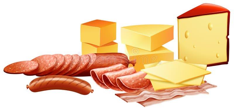 Сыр и различные виды мясных продуктов бесплатная иллюстрация