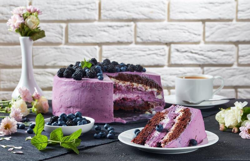 Сыр торта губки шоколада ягоды со сливками стоковые фотографии rf