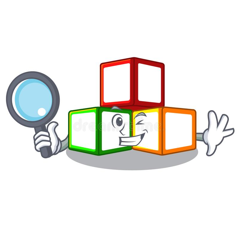Сыскной мультфильм пробела куба блоков игрушки деревянный бесплатная иллюстрация