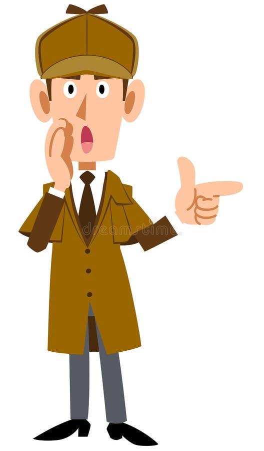 Сыскной человек шепча с пальцем иллюстрация вектора