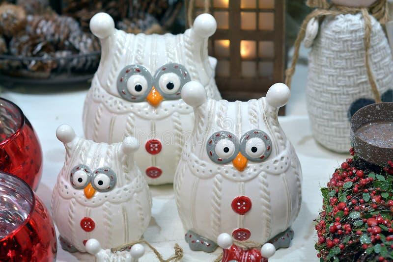 3 сыча белых рождества стоковые фото