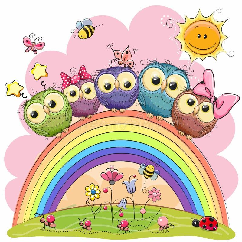 5 сычей на радуге бесплатная иллюстрация