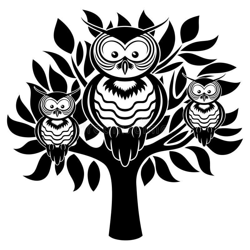 Сычи на дереве иллюстрация штока