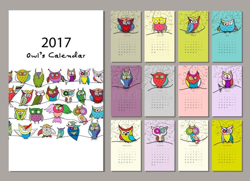 Сычи calendar дизайн 2017 иллюстрация штока
