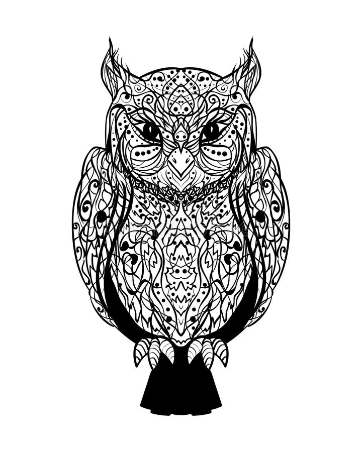 Сыч вектора мистической графической татуировки чернил одичалый мудрый на белом Backg иллюстрация вектора