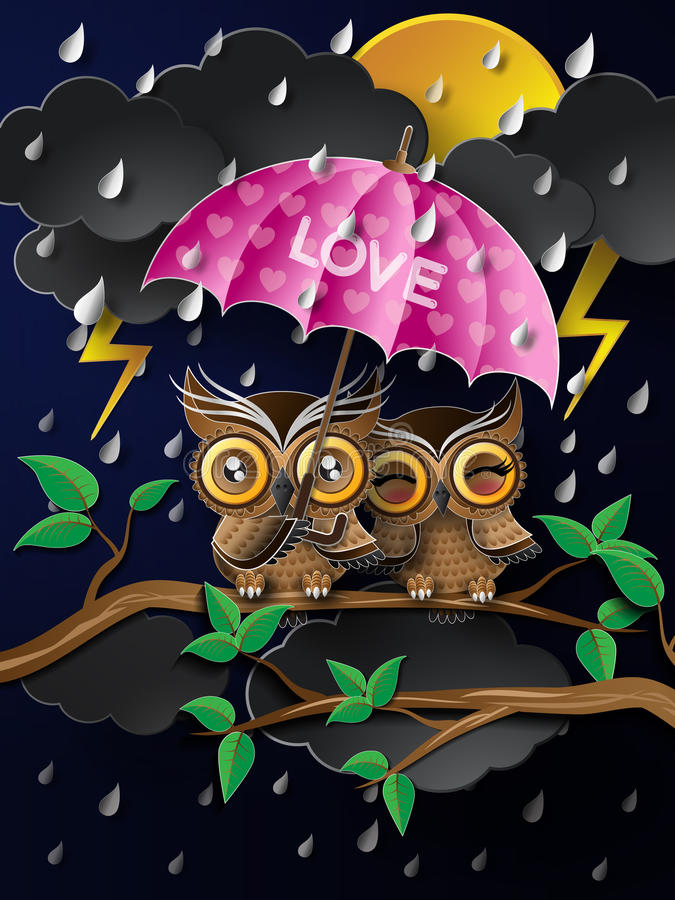 Сыч держа зонтик в дожде иллюстрация штока