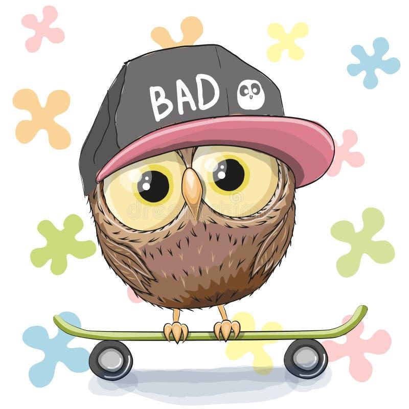 Сыч с скейтбордом бесплатная иллюстрация