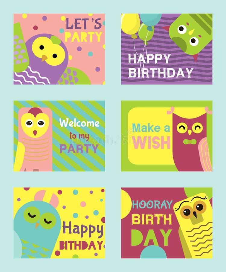 Сыч установил иллюстрации вектора поздравительых открыток ко дню рождения Добро пожаловать к моему дню рождения Сделайте желание  иллюстрация вектора
