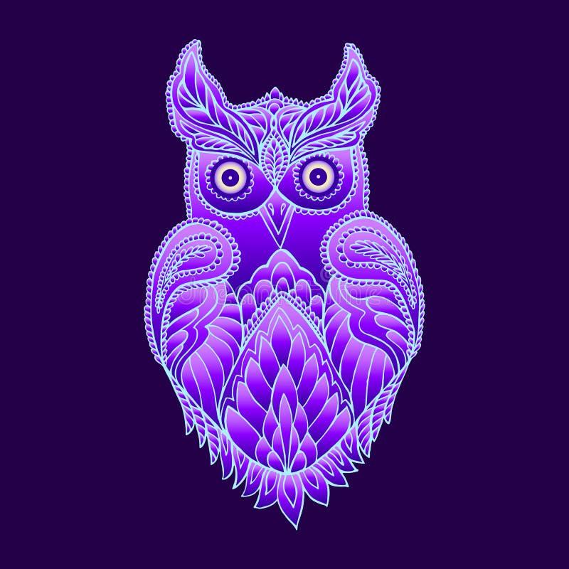 Сыч фантазии мистический фиолетовый иллюстрация штока