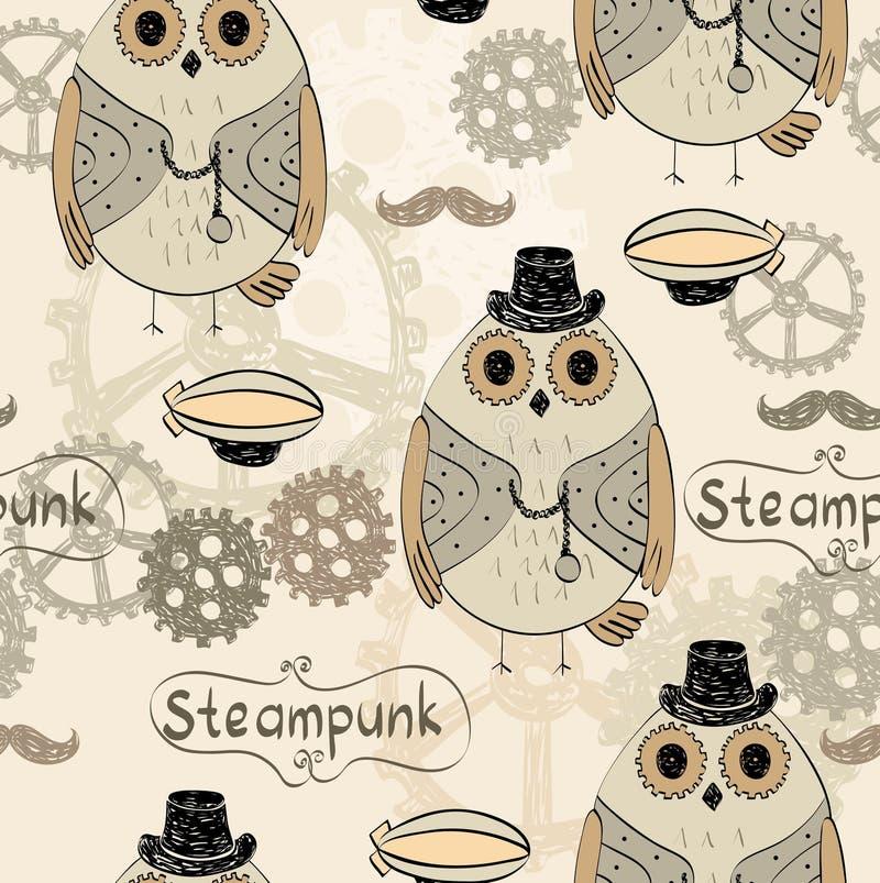 Сыч Steampunk иллюстрация вектора