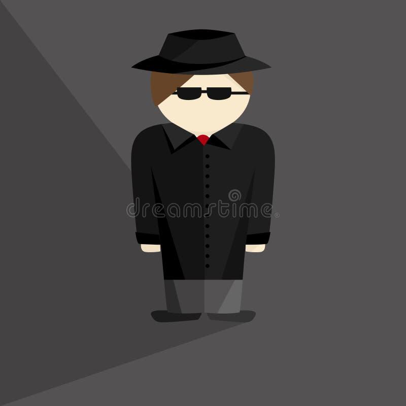 Сыщик в черных шляпе и стеклах пальто иллюстрация вектора