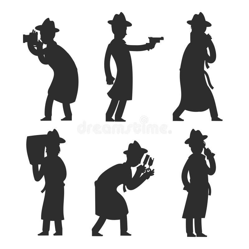 Сыщицкие силуэты изолированные на белизне Полицейский silhouettes иллюстрация вектора иллюстрация вектора