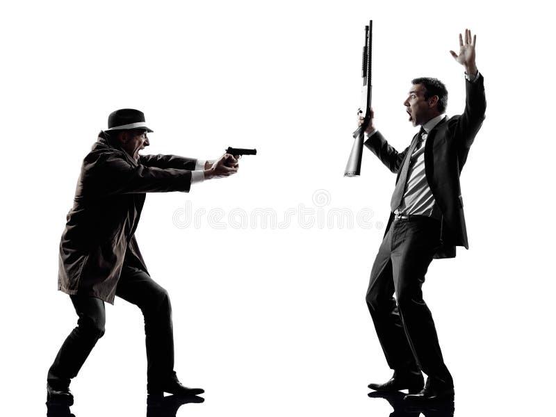 Сыщицкие силуэты исследований преступников человека стоковое изображение rf