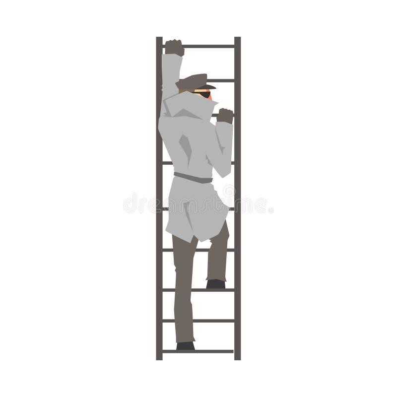 Сыщицкий характер человека взбираясь на иллюстрации вектора лестницы, частного детектива, контролера или полицейского бесплатная иллюстрация