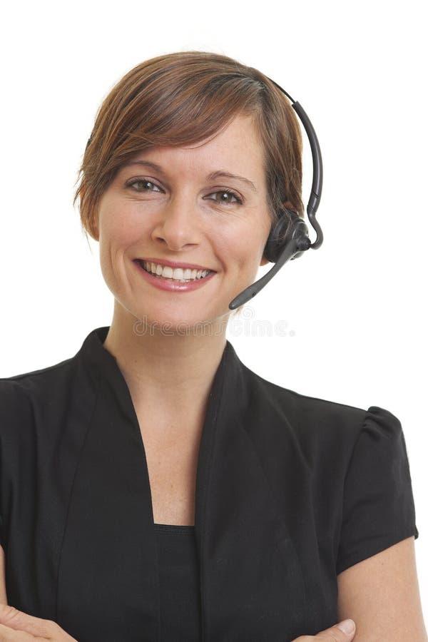 сь детеныши женщины telemarketer стоковое фото