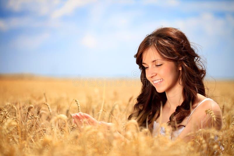 Сь женщина в золотистой пшенице стоковое фото rf