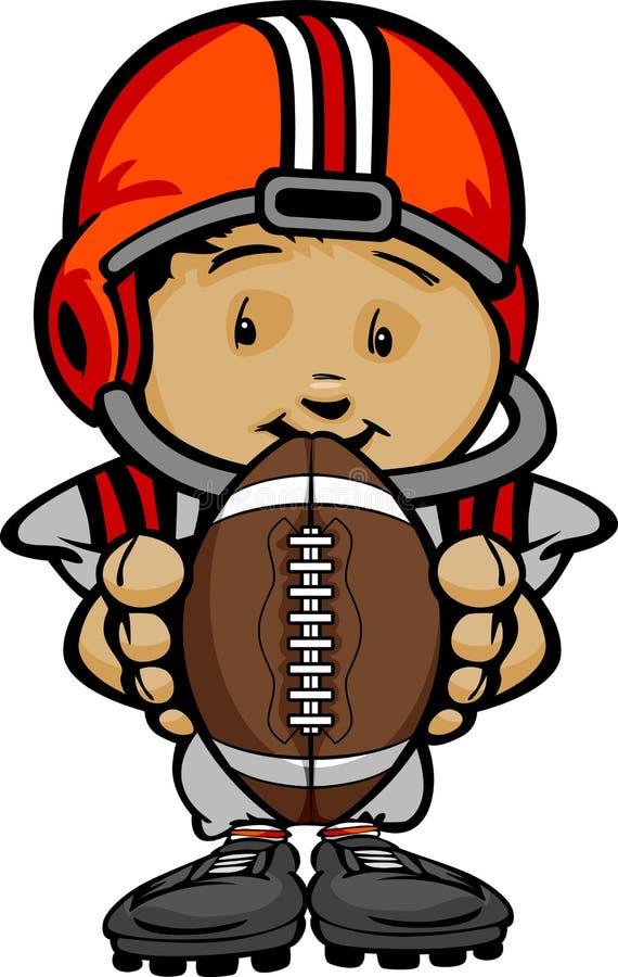 Сь малыш футбола с шариком удерживания шлема иллюстрация вектора