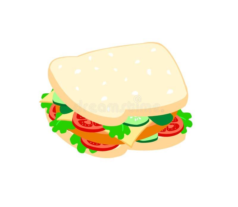 Сэндвичи заполнены с мясом, томатами, сыром, салатом и замаринованными огурцами изолированными на белой предпосылке иллюстрация вектора