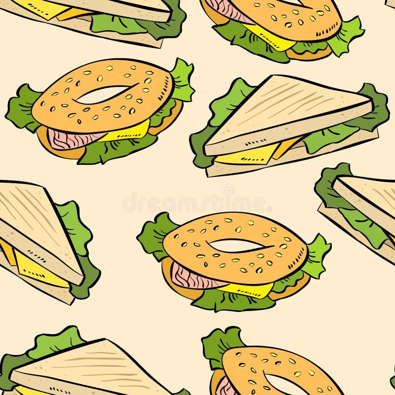 Сэндвич doodles милая безшовная картина Печать вектора иллюстрация вектора