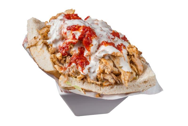 Сэндвич Kebab на белой предпосылке стоковое фото rf