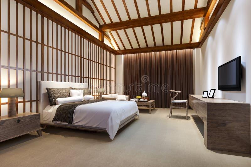 сюита спальни перевода 3d роскошная китайская в курортном отеле иллюстрация вектора