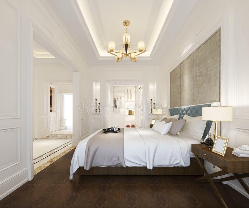 сюита спальни перевода 3d роскошная классическая в гостинице со шкафом и прогулка в шкафе бесплатная иллюстрация