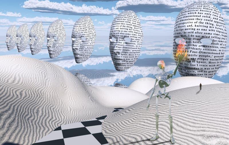 Сюрреалистическая белая пустыня маски иллюстрация вектора