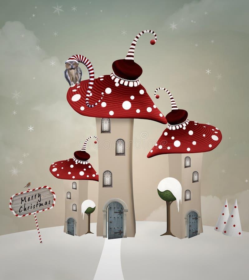 Сюрреалистическая деревня грибов на времени рождества бесплатная иллюстрация