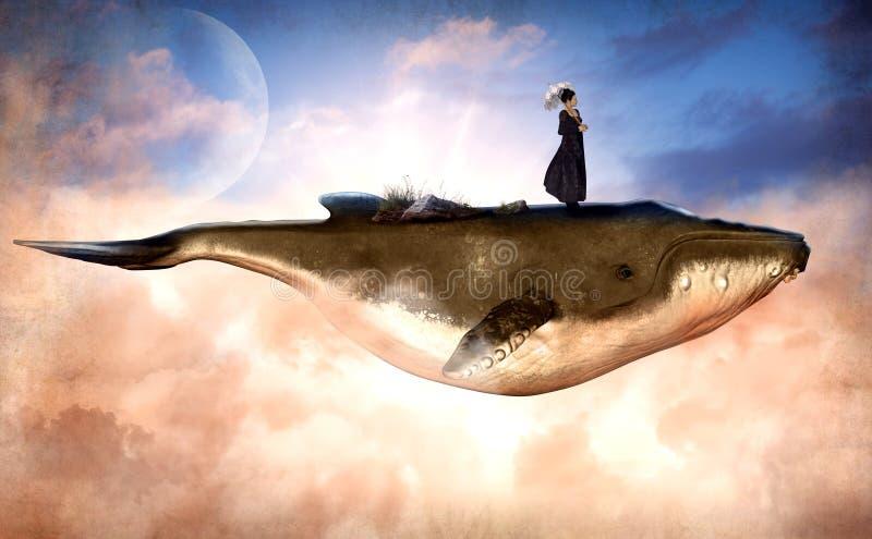 Сюрреалистический горбатый кит летая и женщина на верхней части иллюстрация вектора