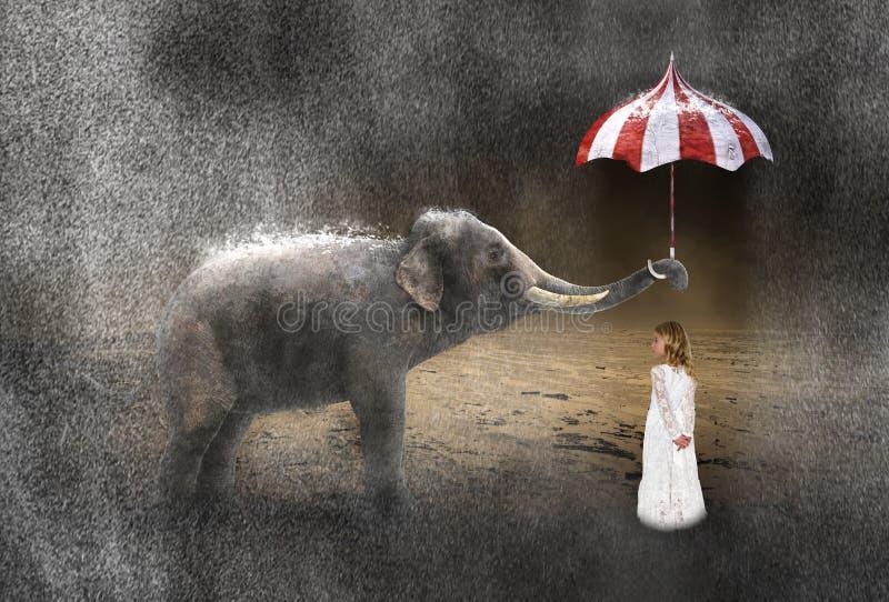 Сюрреалистический дождь, погода, слон, девушка, шторм стоковое изображение rf