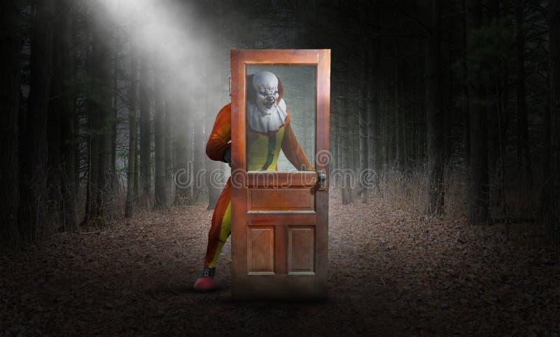 Сюрреалистический злий клоун, древесины, хеллоуин бесплатная иллюстрация