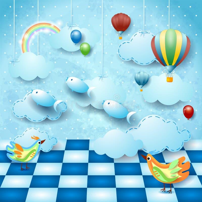 Сюрреалистический ландшафт с комнатой, облаками, воздушными шарами, птицами и летучими рыбами иллюстрация вектора