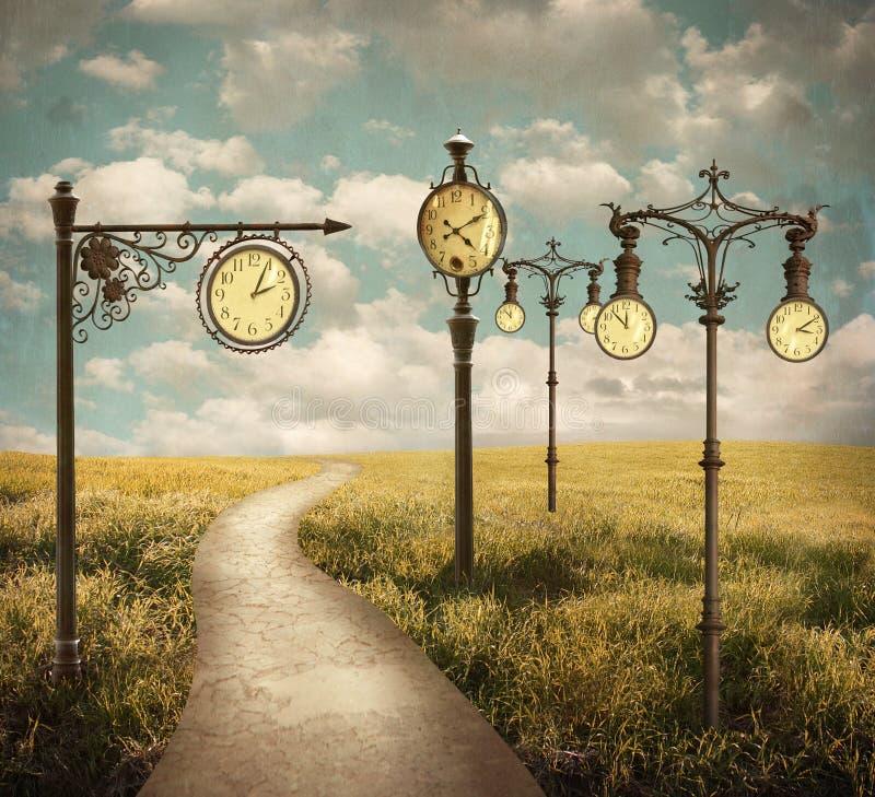 Сюрреалистический ландшафт часов стоковое изображение rf