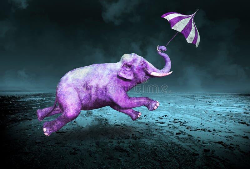 Сюрреалистический фиолетовый фиолетовый слон летания иллюстрация штока